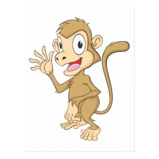 Mano que agita del mono lindo hola hola adiós postales