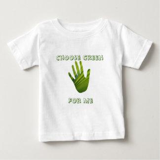 Mano verde cortada camiseta