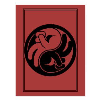 Mano Yin Yang de la paz Postal