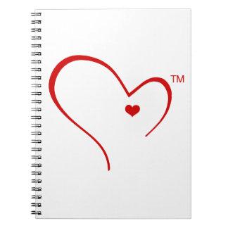 Manoplas para el cuaderno del logotipo del corazón