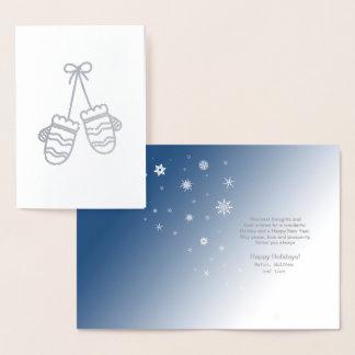 Manoplas y copos de nieve ID427 de plata Tarjeta Con Relieve Metalizado