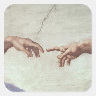 Manos de dios y de Adán Calcomania Cuadradas Personalizadas