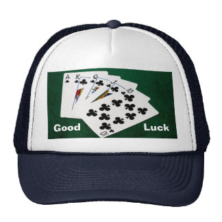 Manos de póker - escalera real - juego de los gorras de camionero
