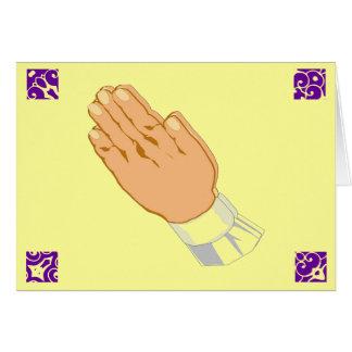 Manos de rogación Pascua feliz en oro Tarjetas