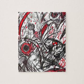 Manos del dibujo de la pluma de la rabia puzzle