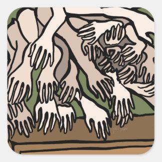 Manos del maniquí pegatina cuadrada