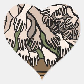 Manos del maniquí pegatina en forma de corazón
