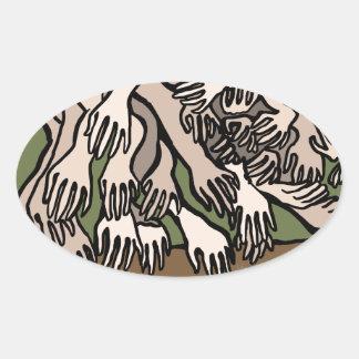 Manos del maniquí pegatina ovalada
