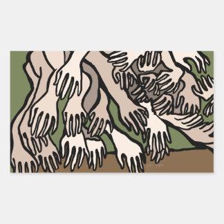Manos del maniquí pegatina rectangular