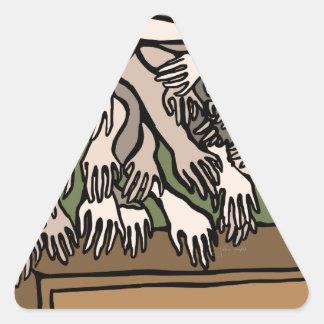 Manos del maniquí pegatina triangular