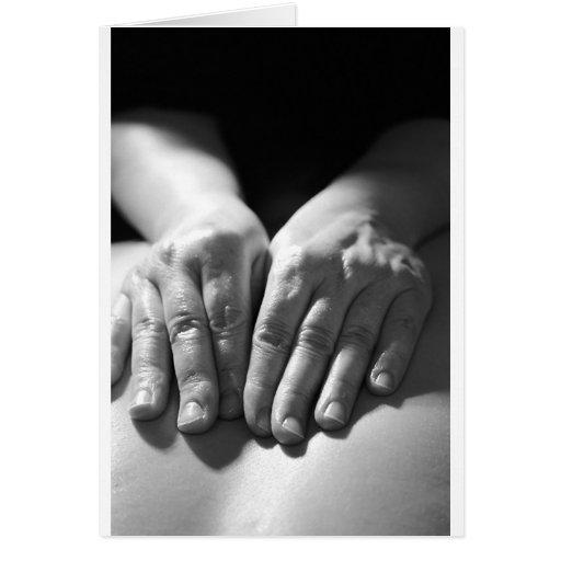Manos del masaje felicitación