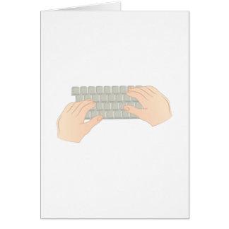 Manos en el teclado tarjeta de felicitación