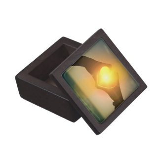 Manos en forma de corazón con la luz que brilla caja de regalo