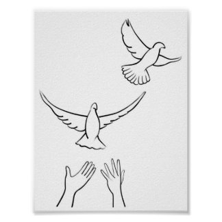 Manos que lanzan palomas posters