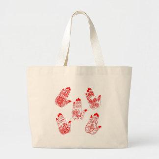 Manos rojas del tatuaje de la alheña bolsa tela grande