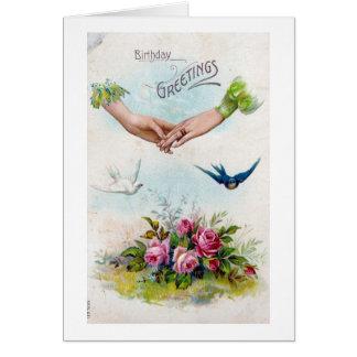 Manos y pájaros de los saludos del cumpleaños del tarjeta de felicitación