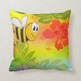 Manosee el amortiguador de la flor de la abeja y cojín decorativo
