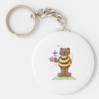Manosee el oso con las flores llaveros personalizados