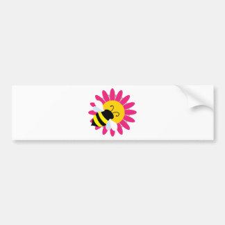 Manosee la abeja en la flor pegatina para coche