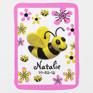 Manosee la ducha de la niña de la abeja mantitas para bebé