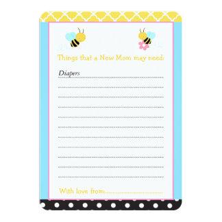 Manosee la lista amarilla y negra de la abeja del invitación 12,7 x 17,8 cm
