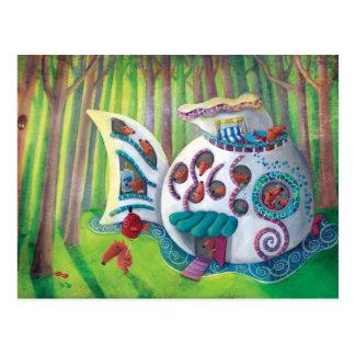 Mansión mágica de los pescados en el bosque postal