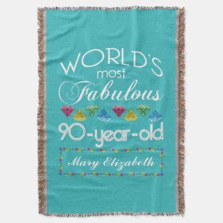 Manta 90.o Cumpleaños la mayoría de la turquesa colorida