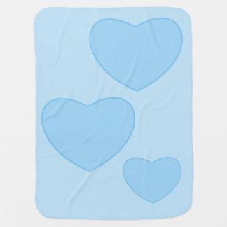 Manta azul del bebé de los corazones mantitas para bebé