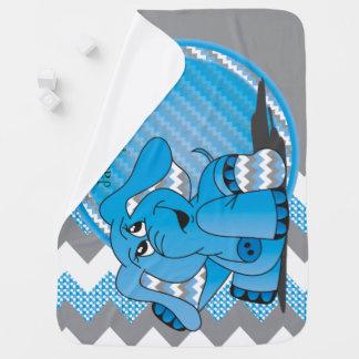Manta azul divertida del bebé del elefante de