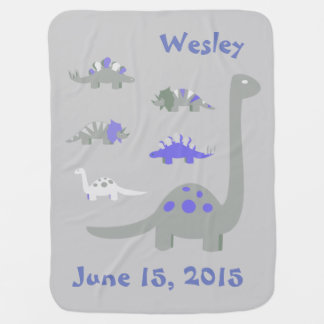 Manta azul y gris del bebé del dinosaurio mantas de bebé