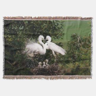 Manta blanca del tiro de la familia del Egret