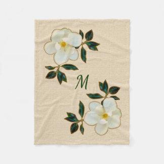 Manta con monograma de la magnolia, manta del tiro