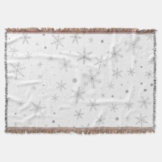 Manta Copo de nieve del centelleo - gris y Blanco de