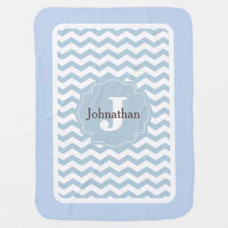 Mantita Para Bebé Manta de encargo del bebé del zigzag azul de