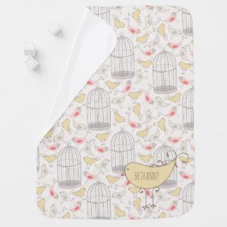 Manta del bebé de los pájaros y de las jaulas del mantitas para bebé