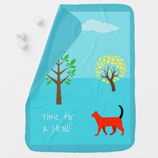 Manta del bebé de StylishTurquoise con un gato