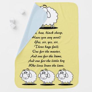 Manta del bebé del amarillo de las ovejas negras