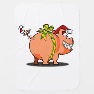 Manta del bebé del cerdo de las Felices Navidad