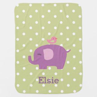 Manta del bebé del chica personalizado elefante mantitas para bebé
