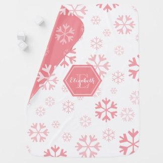 Manta del bebé del copo de nieve del monograma