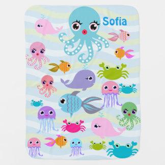 manta del bebé del mar del océano, pulpo, mantita para bebé