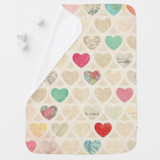 Manta del bebé/impresión del corazón del vintage mantitas para bebé