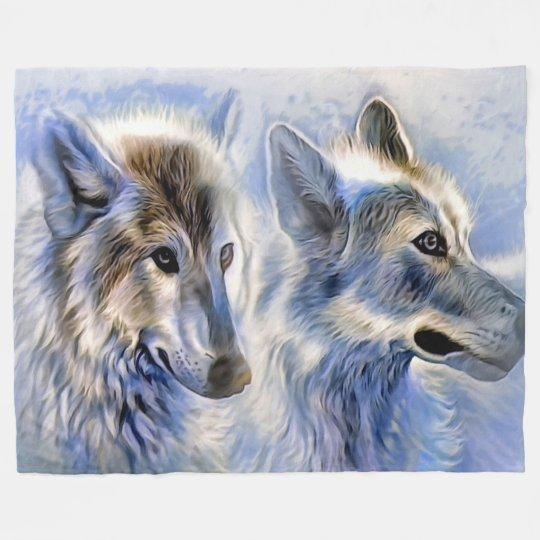 Manta del paño grueso y suave de los lobos, grande