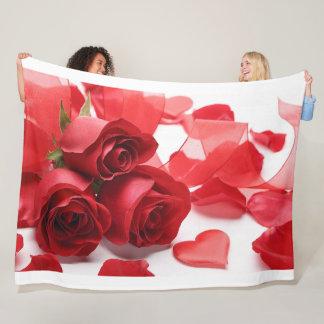 Manta del paño grueso y suave de los rosas rojos