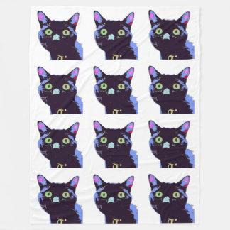 Manta del paño grueso y suave del gato negro