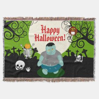 Manta Escena del zombi de Halloween de la Luna Llena del