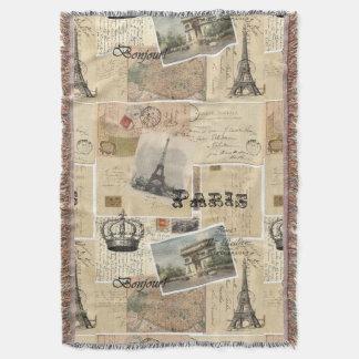 Manta francesa del tiro del collage de la postal