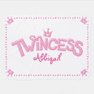 Manta gemela del bebé del chica de Twincess (rosa)
