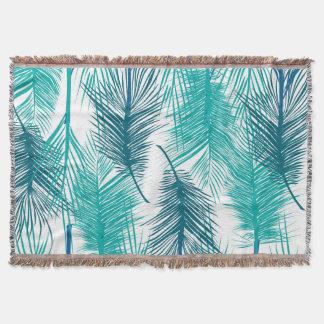 Manta Hojas de palma tropicales azules y verdes.
