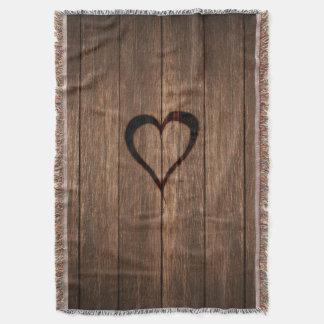 Manta Impresión quemada madera rústica del corazón